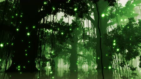 tündér : 4K Mysterious Fairy Tale Fantasy Deep Jungle with Fireflies at Night 3D Animation Stock mozgókép