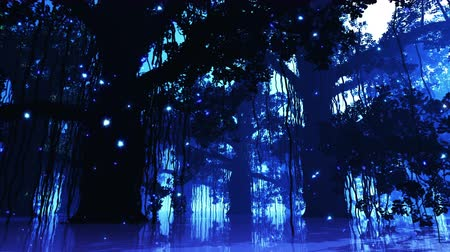pântano : 4K Mysterious Fairy Tale Fantasy Deep Jungle with Fireflies at Night 3D Animation Vídeos