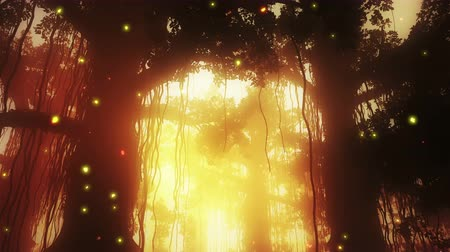 tündér : 4K Mysterious Fairy Tale Fantasy Deep Jungle in Water with Fireflies in the Sunset Sunrise 3D Animation