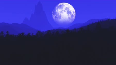 полный : 4K Flying Over Prehistoric Jungle at Night in the Moonlight 3D Animation with Smooth Camera Motion