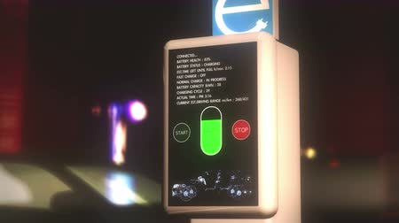 pil : 4K Electric Vehicle Charging Station in Work at Night Photorealistic 3D Animation - Electric Vehicle Supply Equipment and Electric Vehicles are near future technology which can replace the gas  benzin  oil based vehicles.