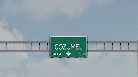 city limits : 4K Passing Cozumel Mexico Highway Road Sign with Matte 1 neutral