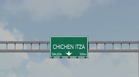 city limits : 4K Passing Chichen Itza Mexico Highway Road Sign with Matte 1 neutral
