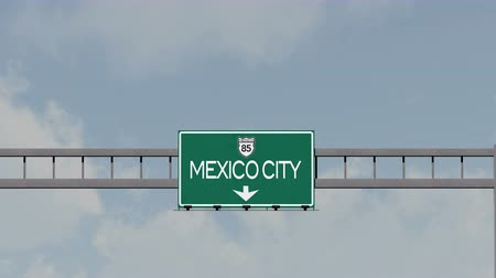 ciudad : 4K Passing Mexico City Highway Road Sign with Matte 1 neutral Stock Footage
