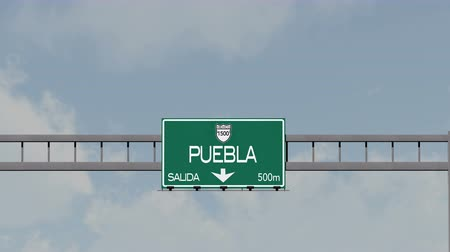 city limits : 4K Passing Puebla Mexico Highway Road Sign with Matte 1 neutral