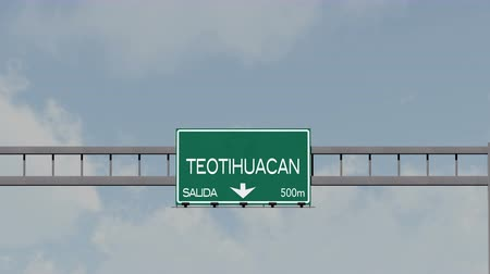 city limits : 4K Passing Teotihuacan Mexico Highway Road Sign with Matte 1 neutral