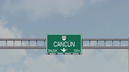 city limits : 4K Passing Cancun Mexico Highway Road Sign with Matte 1 neutral