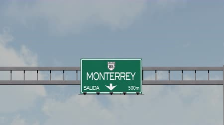 city limits : 4K Passing Monterrey Mexico Highway Road Sign with Matte 1 neutral Stock Footage