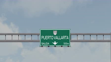 city limits : 4K Passing Puerto Vallarta Mexico Highway Road Sign with Matte 1 neutral