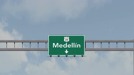 kolombiya : 4K Passing under Medellin Colombia Highway Road Sign Photorealistic 3D Animation with Matte 4K 4096x2304 ultra high definition Stok Video