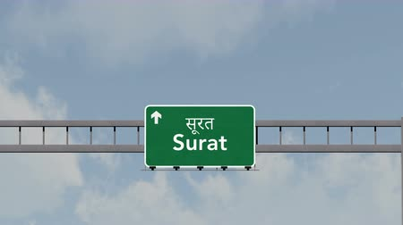 surat : 4K Passing under Surat India Highway Road Sign Photorealistic 3D Animation with Matte 4K 4096x2304 ultra high definition Stock Footage