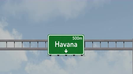 kuba : 4K Passing under Havana Cuba Highway Road Sign Photorealistic 3D Animation with Matte 4K 4096x2304 ultra high definition