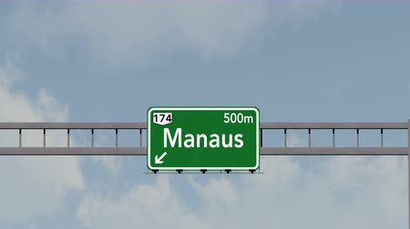 manaus : 4K Passing under Manaus Brazil Highway Road Sign Photorealistic 3D Animation with Matte 4K 4096x2304 ultra high definition