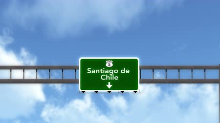 Чили : 4K Passing under Santiago de Chile Highway Road Sign Photorealistic 3D Animation with Matte 4K 4096x2304 ultra high definition