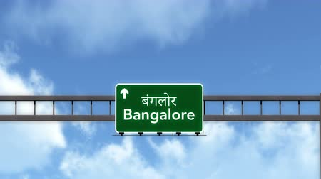 bangalore : 4K Passing under Bangalore India Highway Road Sign Photorealistic 3D Animation with Matte 4K 4096x2304 ultra high definition