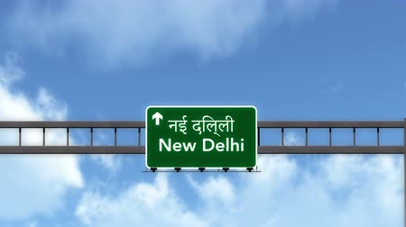 city limits : 4K Passing under New Delhi India Highway Road Sign Photorealistic 3D Animation with Matte 4K 4096x2304 ultra high definition Stock Footage