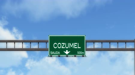 中央アメリカ : 4K Passing Cozumel Mexico Highway Road Sign with Matte 2 stylized