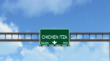 city limits : 4K Passing Chichen Itza Mexico Highway Road Sign with Matte 2 stylized