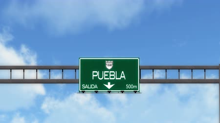 city limits : 4K Passing Puebla Mexico Highway Road Sign with Matte 2 stylized Stock Footage