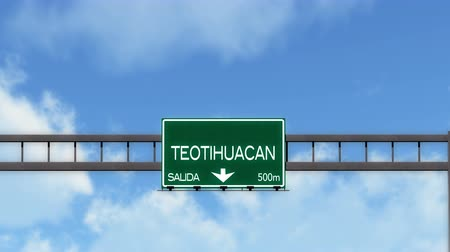 city limits : 4K Passing Teotihuacan Mexico Highway Road Sign with Matte 2 stylized