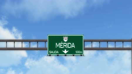 city limits : 4K Passing Merida Mexico Highway Road Sign with Matte 2 stylized