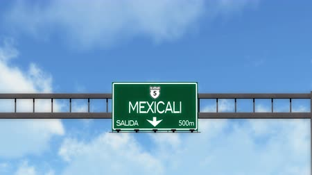 sınırları : 4K Passing Mexicali Mexico Highway Road Sign with Matte 2 stylized Stok Video