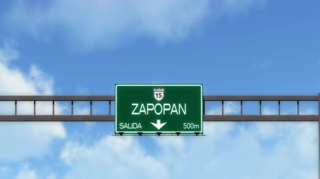 estilizado : 4K Passing Zapopan Mexico Highway Road Sign with Matte 2 stylized