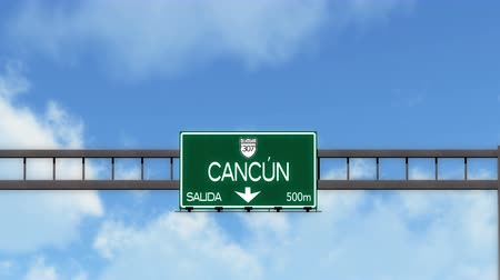 city limits : 4K Passing Cancun Mexico Highway Road Sign with Matte 2 stylized