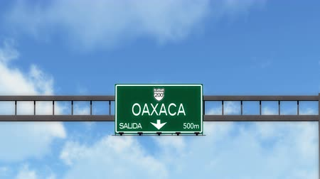 city limits : 4K Passing Oaxaca Mexico Highway Road Sign with Matte 2 stylized