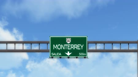 city limits : 4K Passing Monterrey Mexico Highway Road Sign with Matte 2 stylized