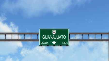 mexico city : 4K Passing Guanajuato Mexico Highway Road Sign with Matte 2 stylized Stock Footage