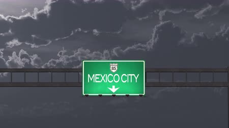 ciudad : 4K Passing under Mexico City Highway Road Sign at Night Photo Realistic 3D Animation with Matte 4K 4096x2304 ultra high definition