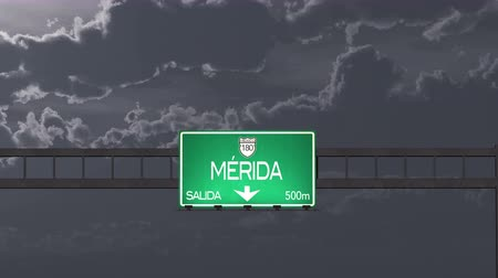 útjelzés : 4K Passing under Merida Mexico Highway Road Sign at Night Photo Realistic 3D Animation with Matte 4K 4096x2304 ultra high definition