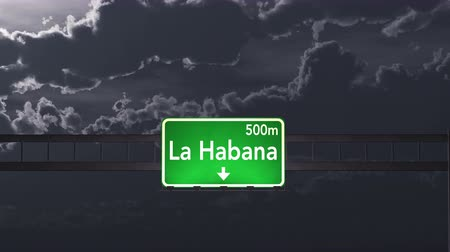 kübalı : 4K Passing under La Habana Cuba Highway Road Sign at Night Photo Realistic 3D Animation with Matte 4K 4096x2304 ultra high definition