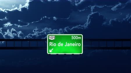 rio de janeiro state : 4K Passing under Rio De Janeiro Brazil Highway Road Sign at Night Photo Realistic 3D Animation with Matte 4K 4096x2304 ultra high definition Stock Footage