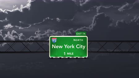 city limits : 4K Passing under New York City USA Interstate Highway Road Sign at Night Photo Realistic 3D Animation with Matte 4K 4096x2304 ultra high definition Stock Footage