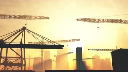 area of port : 4K Huge Construction Cranes in Industrial Zone in Sunset Sunrise 3D Animation
