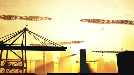 utilidade : 4K Huge Construction Cranes in Industrial Zone in Sunset Sunrise 3D Animation