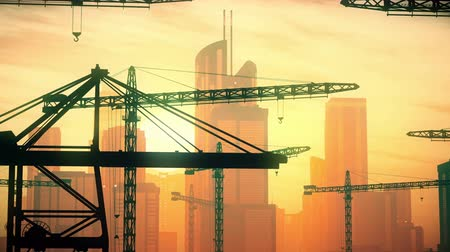 área de trabalho : 4K Huge Construction Cranes in Industrial Zone in Sunset Sunrise 3D Animation