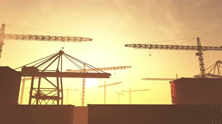 hasznosság : 4K Huge Construction Cranes in Industrial Zone in Sunset Sunrise 3D Animation