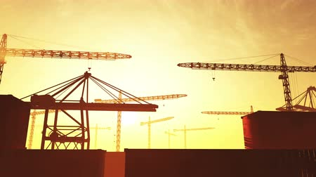 утилита : 4K Huge Construction Cranes in Industrial Zone in Sunset Sunrise 3D Animation
