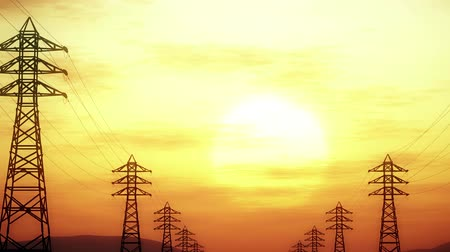 parallele : 4K High Voltage Electric Poles System in the Sunset Sunrise 3D Animation 7 st Filmati Stock