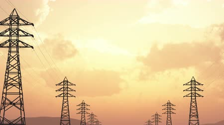 parallele : 4K High Voltage Electric Poles System in the Sunset Sunrise 3D Animation 13 f