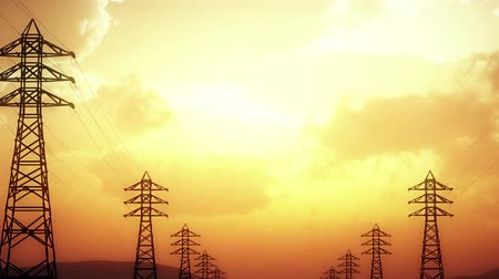 paralelo : 4K High Voltage Electric Poles System in the Sunset Sunrise 3D Animation 14 s Vídeos