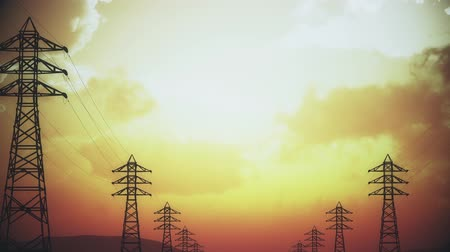paralelo : 4K High Voltage Electric Poles System in the Sunset Sunrise 3D Animation 15 s