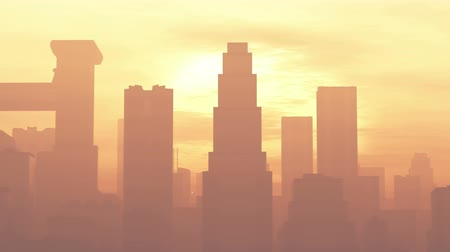 consumo : 4K Huge Smoggy Metropolis in the Sunset Sunrise 3D Animation 1 flat