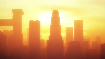 estilizado : 4K Huge Smoggy Metropolis in the Sunset Sunrise 3D Animation 2 stylized Stock Footage