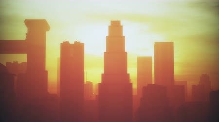 consumo energia : 4K Enorme Smoggy Metropolis in Sunset Sunrise 3D Animation 3 stilizzato Filmati Stock