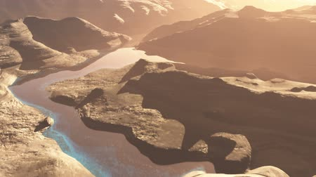 hiba : Aerial Shot of a Rocky Canyon and a Lake 3D Animation 1 flat