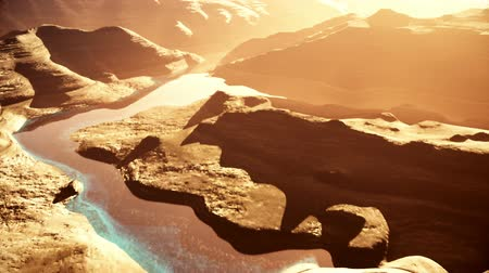 jezioro : Aerial Shot of a Rocky Canyon and a Lake 3D Animation 5 stylized